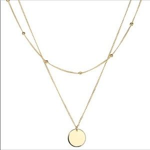 Dainty Layered Disk Necklace 18k Gold Plated